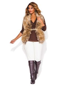 Ashley Stewart Solid Ribbed Surplice Top, Faux Fur Vest w/ Pleather Back, Double Cream Jeggings and Web Exclusive Curb Link Chain Belt