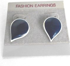 "NEW Fashion .50"" Teardrop Navy White Pierce Earring Stud Clasp Enamel, no Stone #Unbranded #Stud"