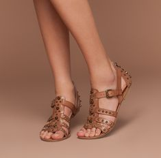 How cute, these studded sandals are great