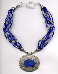 afghan lapis pendant, multi-strand lapis and sterling necklace... beautiful