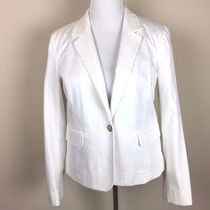 Tommy Hilfiger White Cotton Blend Textured One-Button Blazer Womens 16 #TommyHilfiger #Blazer