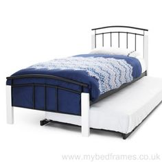 Metal and wood bed frame in 4 colour combinations: silver metal/white wood or black metal/white wood. Curved headboard and foot rail design. Standard Single Free delivery supplied by Serene Furnishing.