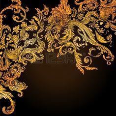 Fond de cru brun motif baroque, illustration vectorielle Banque d'images