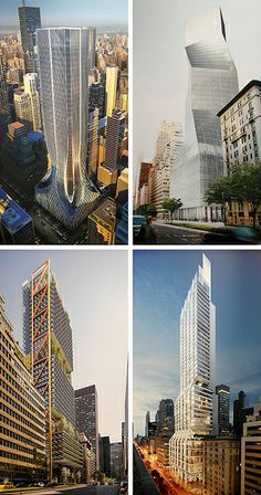 425 Park Avenue Renderings | Top to bottom, left to right: Zaha Hadid, OMA, Richard Rogers, Norman Foster
