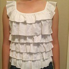 Hollister ruffled white shirt White Hollister ruffled white, very cute summer shirt, light and airy Hollister Tops Blouses