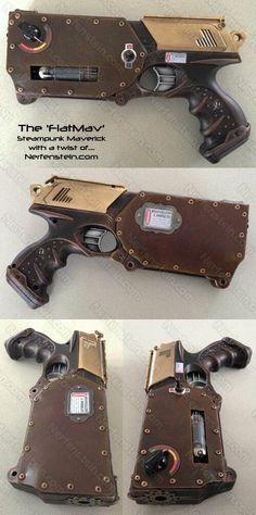 http://girlygamer.com.au/2012/09/flatmav-nerf-maverick-steampunk-leather-rivets-gun-display-prop/