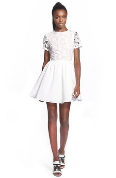 Free shipping and returns on MISSGUIDED Crochet Skater Dress at  Nordstrom.com. Openwork sleeves f44f415dffc0