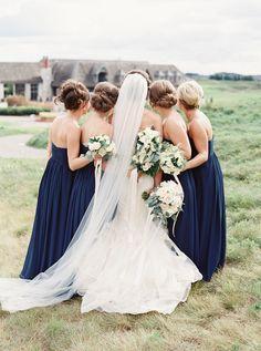 Photography : When He Found Her, Reid Lambshead | Wedding Dress : Vera Wang | Bridesmaids Dresses : Bill Levkoff | Florist : Berries & Blooms Read More on SMP: http://www.stylemepretty.com/2015/03/02/navy-ontario-golf-club-wedding/