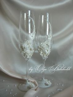 Gentle wedding champagne glasses by ArtsLux on Etsy, $60.00