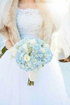 Wonderful Wintery Wedding Bouquet Of: Blue Hydrangea, White Roses & White Baby's Breath (Gypsophila)