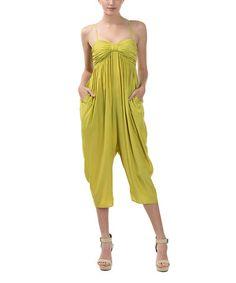 Look at this #zulilyfind! Citronella Ruched Babydoll Jumpsuit #zulilyfinds