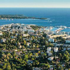 // Hill with view. La Croisette, Palais Des Festivals, Cannes France, World Famous, French Riviera, Sandy Beaches, Modern Buildings, San Francisco Skyline, Coast