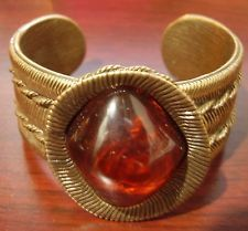 Wendy Gell Heavy Cuff Bracelet, Amber Colored Center Stone, Signed