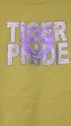 Custom spirit wear. Rhinestones, Gold Foil, Purple Foil.  Rang N Rhinestones, FB, INSTAGRAM.
