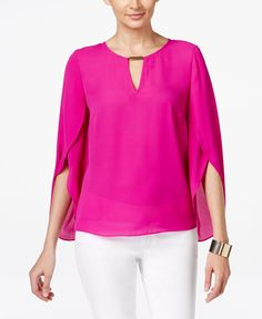 Inc International Concepts Chiffon Keyhole Blouse, Only at Macy's