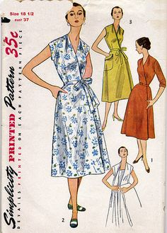 Everything old is new again: I wonder if this 1953 Simplicity wrap dress was the inspiration for Diane von Furstenberg's classic 1970s wrap dress, which is still going strong.