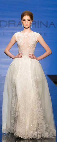 cb6281fd0c34 Alessandra Rinaudo Bridal Couture 2017 Collection. Wedding dress made of  tulle and beading lace.