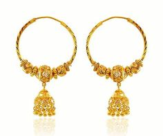 Earrings are designed with beaded gold balls and studded cubic zirc Gold Jhumka Earrings, Gold Earrings Designs, Silver Hoop Earrings, Stud Earrings, Jumka Earrings, Gold Designs, Earring Studs, Mens Gold Jewelry, Clean Gold Jewelry