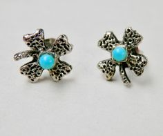 Clover Earrings Four Leaf Clovers Silvertone Turquoise Beads Flower Jewelry Vintage Jewelry Avon Blue Turquoise Floral Earrings by TheJewelryChain on Etsy