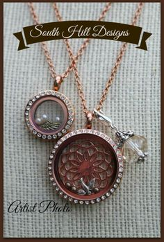 Rose gold lockets! one is a large the other mini. Both have swarovski crystals around it! South Hill Designs! #rosegold #locket #southhilldesigns #beautifuljewelry