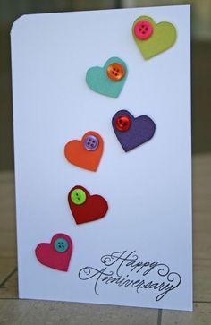 card home wedding cards anniversary wedding cards wedding cards anniversary cards handmade greeting cards Tarjetas Diy, Button Cards, Valentine Day Cards, Valentine Sday, Love Cards, Greeting Cards Handmade, Handmade Anniversary Cards, Wedding Anniversary Cards, Simple Handmade Cards