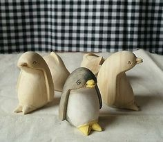 Carved Wood Penguins, Unfinished for DIY Art Project Craft Supplies LOT OF 10