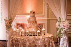 cake table setup- along where bling curtain is with chandalier- draping in front!