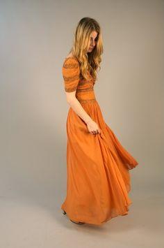 Vintage 1930s peach chiffon evening dress. $170.00, via Etsy.