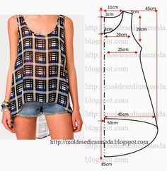 cute tank top pattern - free sewing patterns on portugese website Diy Clothing, Sewing Clothes, Clothing Patterns, Dress Patterns, Sewing Patterns, Tank Top Patterns, Shirt Patterns, Easy Patterns, Sewing Hacks