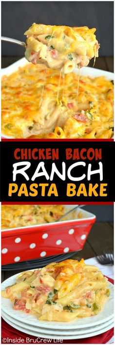 Chicken Bacon Ranch Pasta Bake - this pasta dish is loaded with meat, cheese, and veggies and always gets rave reviews. Easy comfort food recipe to make for busy nights. #pasta #chicken #bacon #comfortfood #dinner #cheesypasta