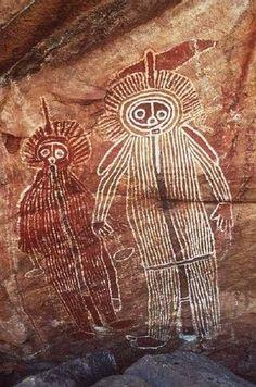 Antiguo dibujo de la cueva de Australia.