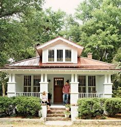 20 Ideas exterior bungalow colors metal roof for 2019 Bungalow Homes, Craftsman Style Homes, Craftsman Bungalows, Craftsman Interior, Craftsman Bungalow Exterior, Bungalow Porch, Small Bungalow, Craftsman Cottage, Sears Craftsman