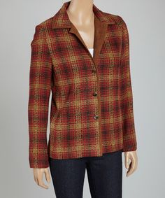 Red & Cognac Plaid Button-Up Jacket - Women by Rafael This is so cute! Perfect for wearing with jeans or slacks. Very classy look and its vegan, cruelty free! 88% acrylic / 12% polyester Only $28.99