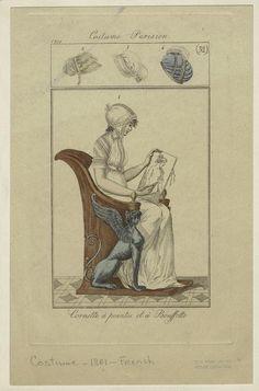 """""""Cornette à points et à Bouffette"""", Journal des Dames et des Modes, 1801; NYPL 801725"""