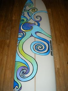 Octopus surfboard design by Colleen Malia Wilcox