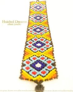Sunny Peyote Flower  authentic huichol bracelet by AidaCoronado, $48.00