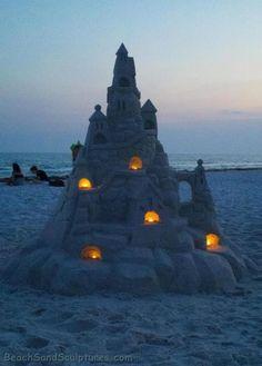 Illuminated Sandcastle on Florida's Emerald Coast
