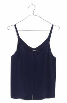 Madewell Women's Silk Button Down Camisole In Deep Navy Madewell, Button Downs, Basic Tank Top, Camisole Top, Nordstrom, Silk, Tank Tops, Tees, Womens Fashion