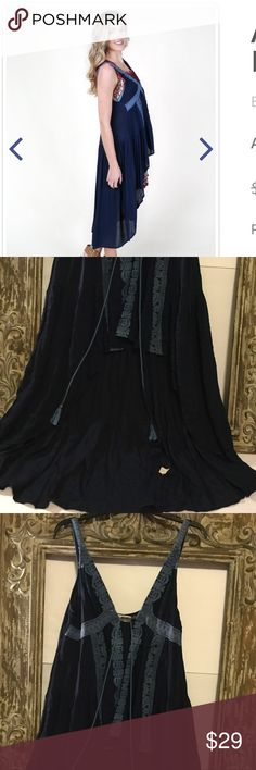 """NEW LISTING NWT Altar'd State navy duster❤️❤️❤️❤️ Altar'd State navy hi low duster with tassel tie. Brand new with tags. See pics for care. Approx length for front is 26"""" and back is 41"""". Altar'd State Other"""