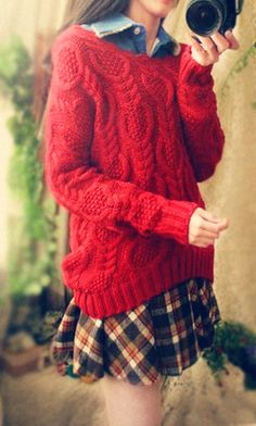 red Sweater  ....... no pattern = need to figure