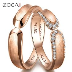 PAIR ZOCAI 0.18 CT CERTIFIED I / SI DIAMOND HIS AND HERS WEDDING BAND RINGS SETS ROUND CUT 18K ROSE GOLD JEWELRY