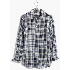 MADEWELL Slim Ex-Boyfriend Shirt in Coltrane Plaid ($80) ❤ liked on Polyvore featuring tops, coastal blue, boyfriend shirt, flannel shirts, plaid button up shirts, blue button up shirt and blue shirt
