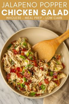 This Jalapeño Popper Chicken Salad is a quick, easy, and flavorful Whole30 lunch that you can prep ahead and pack all week. Enjoy the flavor of a jalapeño popper in a simple salad for lunch! Low Carb Chicken Salad, Salad Chicken, Healthy Lunches For Work, Work Lunches, Jalapeno Popper Chicken, Whole 30 Lunch, Primal Kitchen, Easy Salads, Whole 30 Recipes
