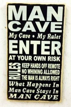 Jay  Man Cave Sign. $34.95, via Etsy. Make out of mom's old cabinet doors.