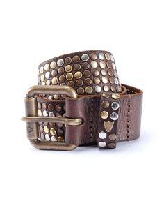 white leather studded belt, handmade in italy, height: 4 cm