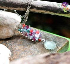 Rare Sea Glass Necklace from Hawaii, Hawaiian jewelry for beach brides, aqua blue seaglass