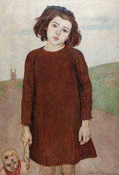 Wlastimil HOFMAN (1881-1970)  Dziewczynka z lalką, 1922 olej, płyta; 93,5 x 64 cm; sygn. i dat. p. d.: Wlastimil Hofman 1922