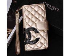 Designer iPhone 6 Wallet Case CC logo Book Cover Golden