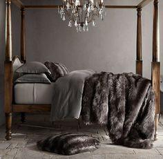 Exotic Faux Fur Blanket - Siberian Grey Fox