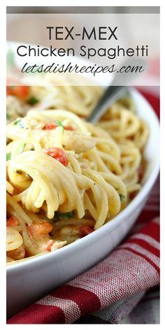Tex Mex White Chicken Spaghetti Recipe   Spaghetti in a spicy white cheddar cheese sauce, with chicken, diced tomatoes and cilantro.